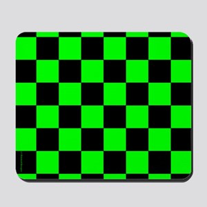 Green and Black Checker Board Mousepad