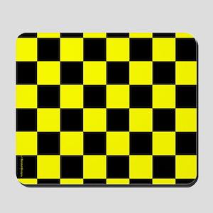 Yellow and Black Checker Board Mousepad