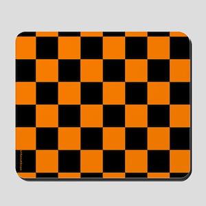Orange and Black Checker Board Mousepad