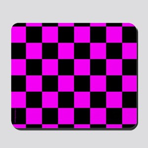 Pink and Black Checker Board Mousepad