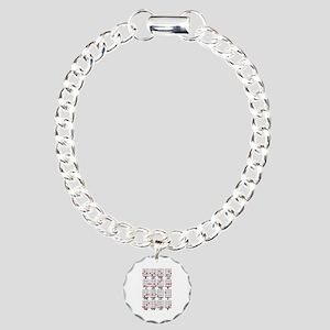 Uke Chord Cheat White Charm Bracelet, One Charm