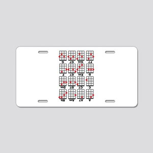 Uke Chord Cheat White Aluminum License Plate