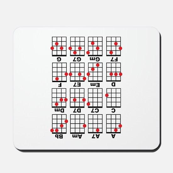 Uke Chord Cheat White Mousepad