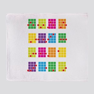 Uke Chords Colourful Throw Blanket