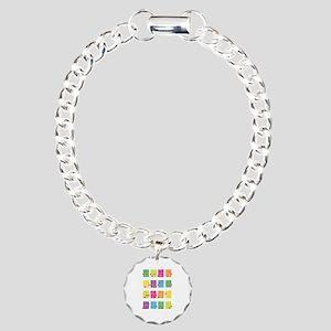 Uke Chords Colourful Charm Bracelet, One Charm