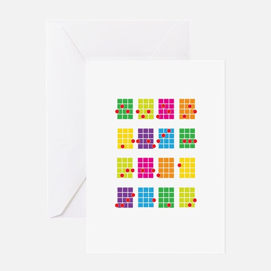 Uke Chords Colourful Greeting Card