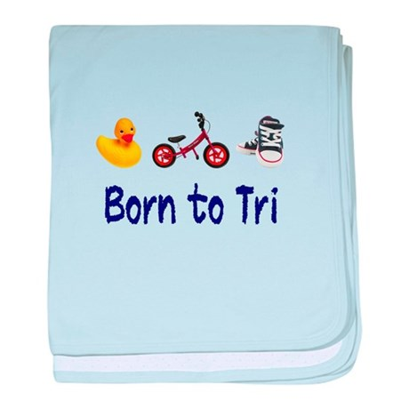 Born to Tri baby blanket