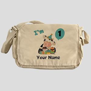 First Birthday Boy Cow Messenger Bag