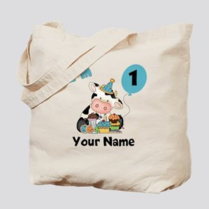 First Birthday Boy Cow Tote Bag