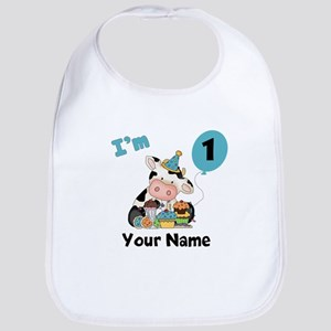 First Birthday Boy Cow Bib