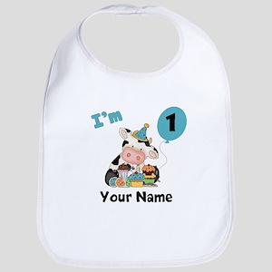 Babys First Birthday Boy Cow Bib