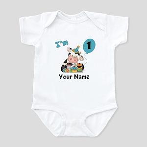 First Birthday Boy Cow Infant Bodysuit