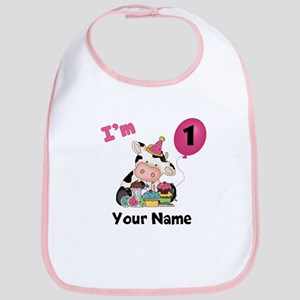 First Birthday Girl Cow Bib