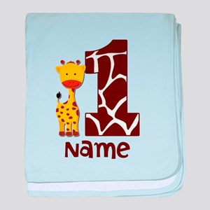 First Birthday Giraffe baby blanket