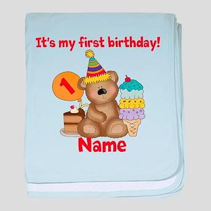 First Birthday Bear baby blanket