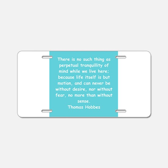 thomas hobbes Aluminum License Plate