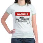 Warning Wildly Inappropriate Jr. Ringer T-Shirt