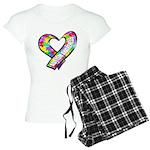 Puzzle Ribbon Heart Women's Light Pajamas