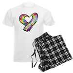 Puzzle Ribbon Heart Men's Light Pajamas