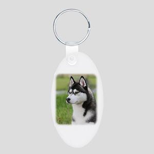 Siberian Husky 9Y570D-006 Aluminum Oval Keychain