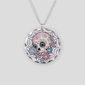 Sweet Sugar Skull Necklace Circle Charm