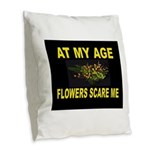FLOWERS Burlap Throw Pillow