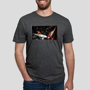White and Orange Koi Mens Tri-blend T-Shirt