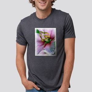 Detail Pink Lily Mens Tri-blend T-Shirt