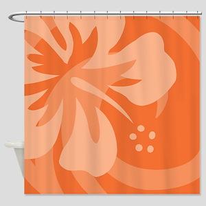Hibiscus Orange Shower Curtain