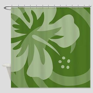 Hibiscus Dark Green Shower Curtain