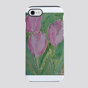 Pink tulips! floral art! iPhone 7 Tough Case