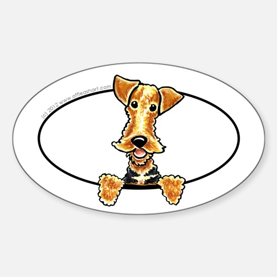 Airedale Welsh Terrier Peeking Bumper Decal