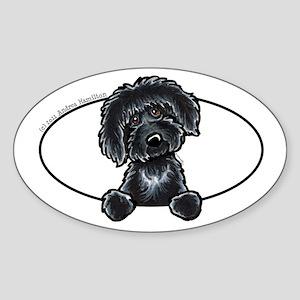 Black Labradoodle Peeking Bumper Sticker (Oval)