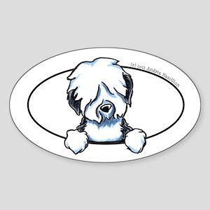 Old English Sheepdog Peeking Bumper Sticker (Oval)
