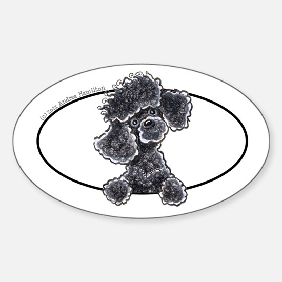 Black Poodle Peeking Bumper Sticker (Oval)