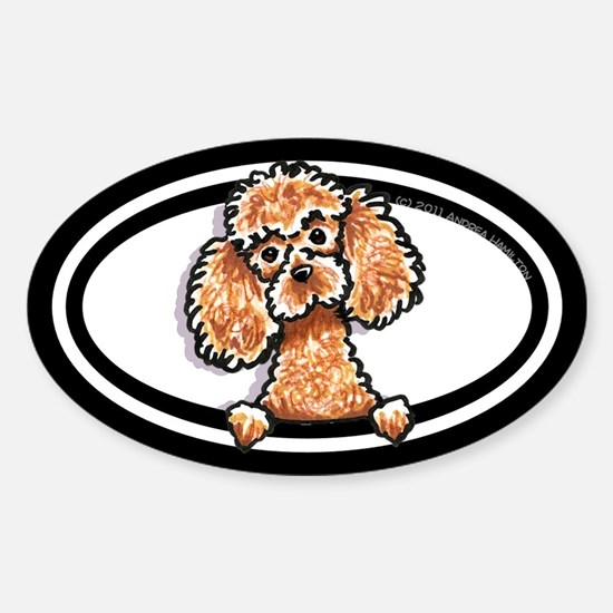 Apricot Poodle Peeking Bumper Sticker (Oval)