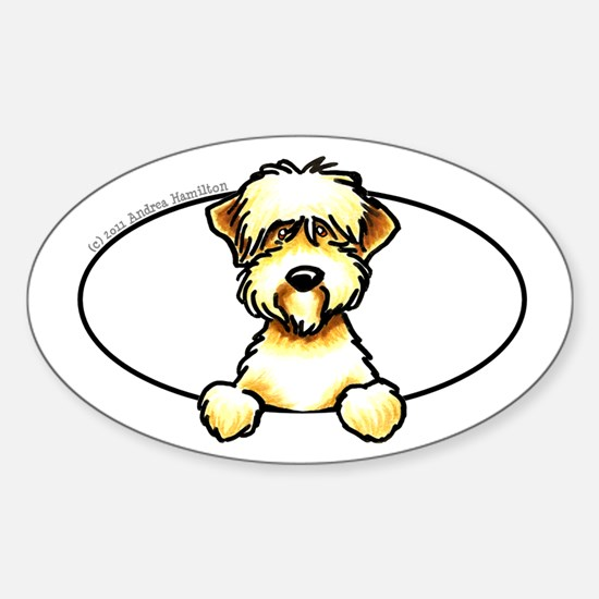 Soft Coated Wheaten Terrier Peeking Bumper Decal