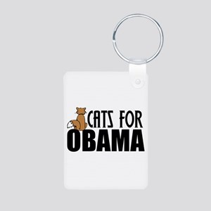 Cats for Obama Aluminum Photo Keychain