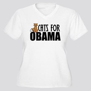 Cats for Obama Women's Plus Size V-Neck T-Shirt