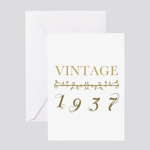 1937 Vintage Gold Greeting Card