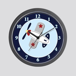 Airplane Aviator 10-inch Black Frame Wall Clock