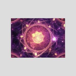 Gold and Royal Purple Fractal Manda 5'x7'Area Rug