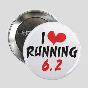 """I heart (love) running 6.2 2.25"""" Button"""