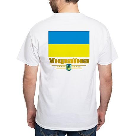 """Ukraine National Flag"" White T-Shirt"