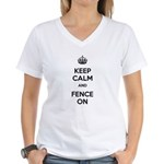 Keep Calm and Fence On Women's V-Neck T-Shirt