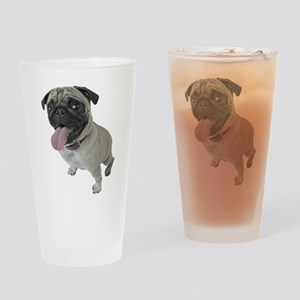 Pug Close-Up Drinking Glass