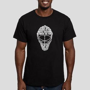 Hockey Goalie Mask Text Men's Fitted T-Shirt (dark