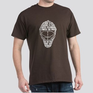 Hockey Goalie Mask Text Dark T-Shirt