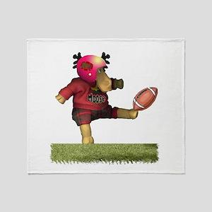 Football Moose Throw Blanket