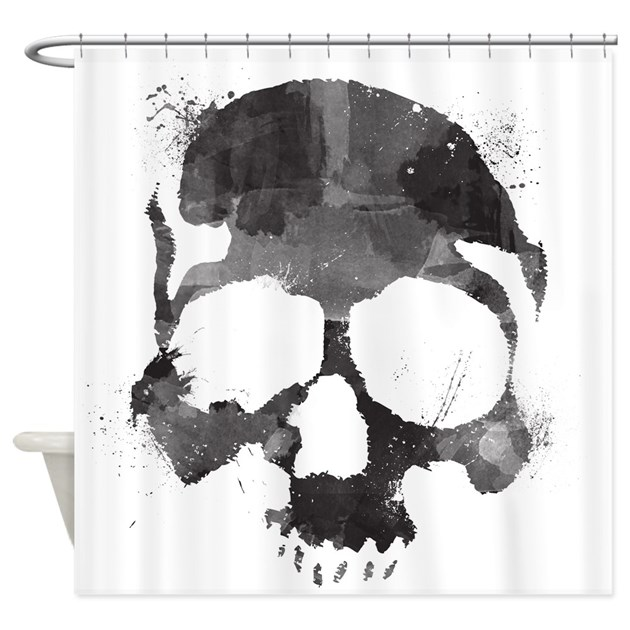 Watercolor Skull Shower Curtain By JoesJunction